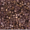 Square Beads 3.4x3.4mm Square Hole Golden Luster Matte
